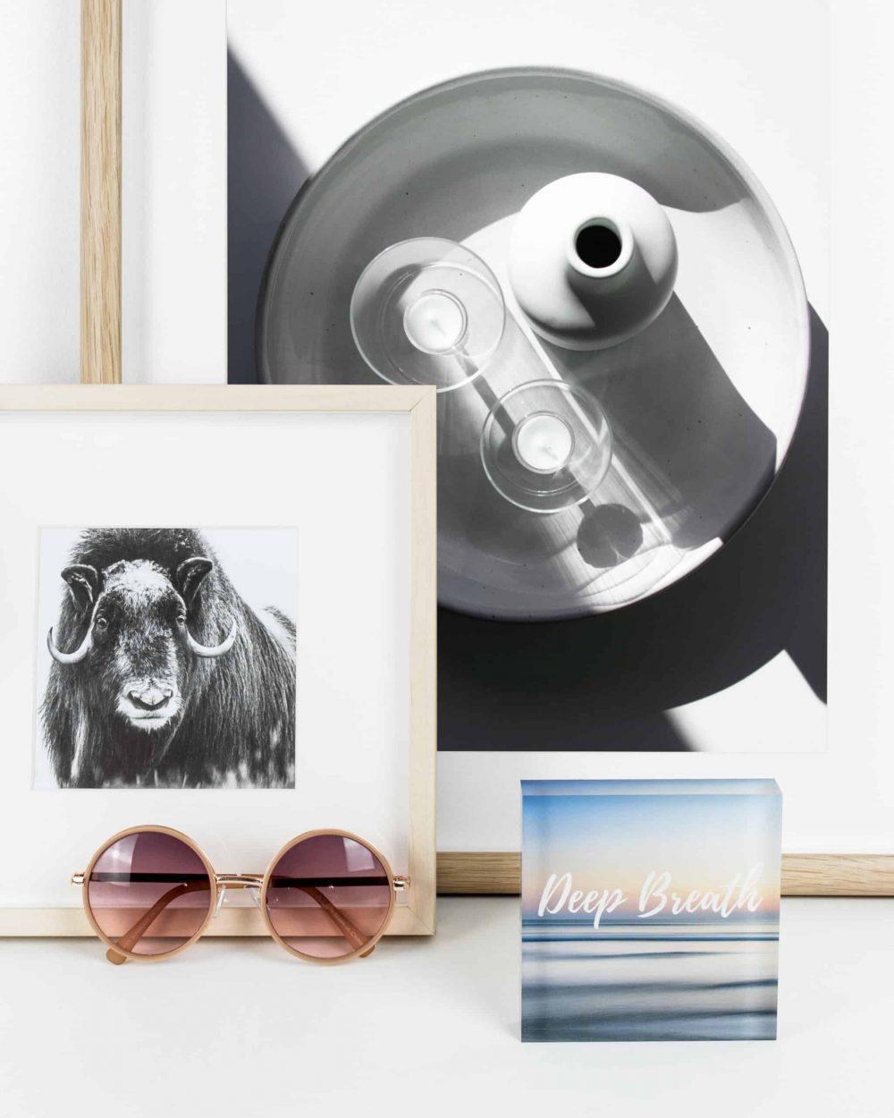 Styled product shot of inspirational acrylic block